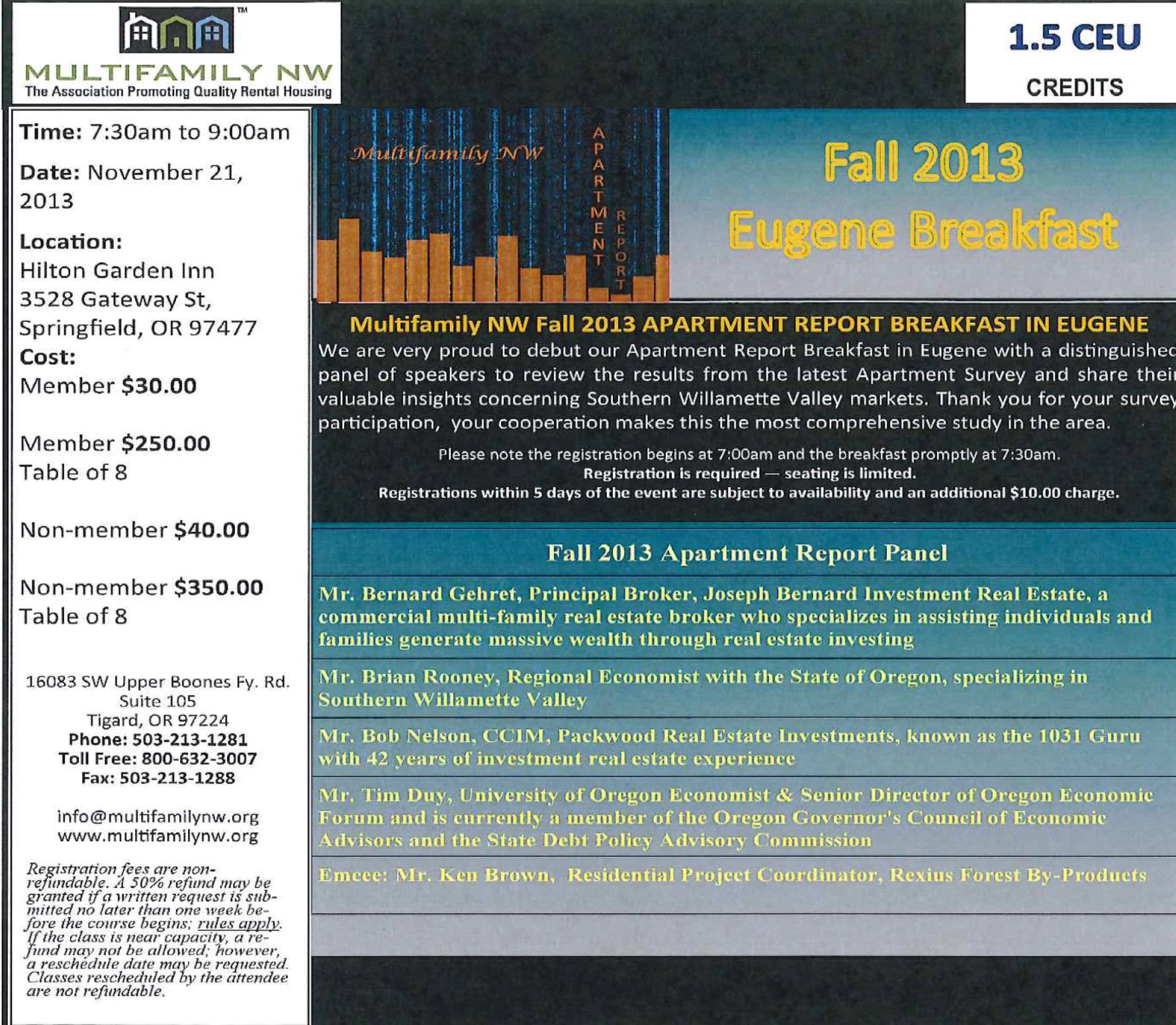 Fall Breakfast for Eugene Metrofamily Northwest